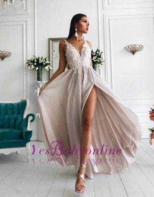 Sexy V-Neck Evening Gowns | Appliques Side Slit Formal Dresses_1