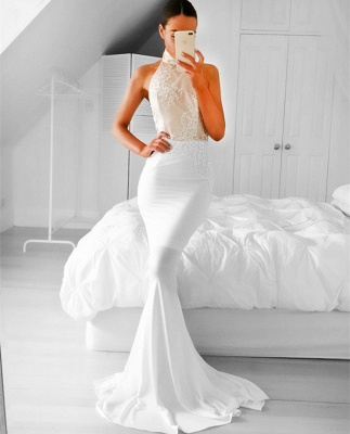 Halter Appliques Mermaid Simple Sleeveless Prom Dress_3