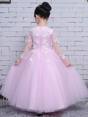 Lovely A-Line Tulle Lace Jewel Long Sleeves Flower Girl Dress_3