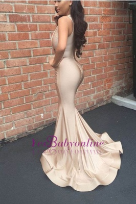 Long Mermaid Ruched V-Neck Sleeveless Sexy Prom Dresses_1