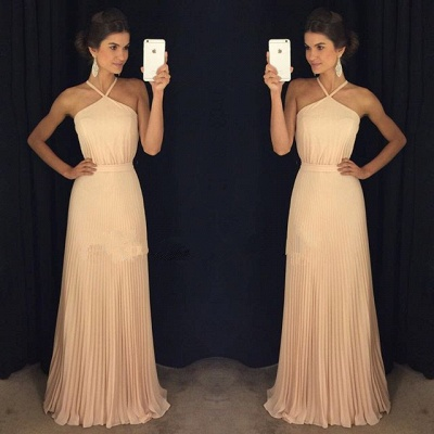 Gorgeous Ruched Long Prom Dresses Halter Neck Elegant Evening Gowns_3