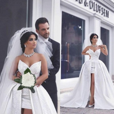 Lace Puffy Strapless Overskirt Glamorous Appliques Ball-gown Wedding Dress_4