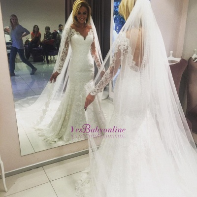 V-Neck Long Sleeves Open Back Lace Mermaid Wedding Dresses_1