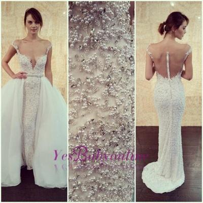 Cap-Sleeve Detachable Glamorous Long Mesh Pearls Beaded Wedding Dress_1