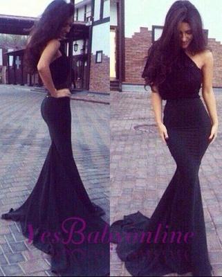 New One-Shoulder Mermaid Elegant Black Prom Dresses_1