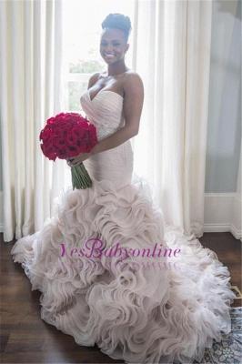 Open-Back Sweetheart Ruffles Court-Train Sheath Organza Wedding Dress_1