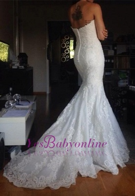 Simple Strapless lace Buttons Back Mermaid Wedding Dresses_1