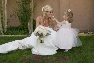 Sleeveless  Straps Cute Long Flower-Girl Dress_1