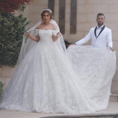 Arabic Off-Shoulder Ball-Gown Appliques Sweetheart Lace-Up-Back White Wedding Dress_3