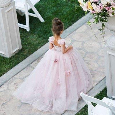 Sweet Pink Tulle Flower Girl Dress | Cute Long Children Dresses BA1419_3
