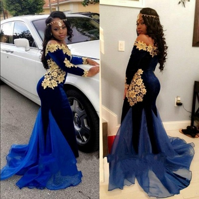 Gorgeous Mermaid Prom Dresses | Off-the-Shoulder Royal Blue Evening Gowns_3
