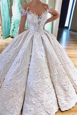Off the Shoulder Lace Appliques Ball Gown Princess Wedding Dresses_1