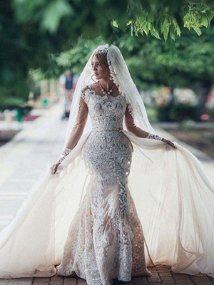 Glamorous  Long Sleeves Mermaid Lace Wedding Dresses | Scoop Appliques Detachable Skirt Bridal Gowns_1