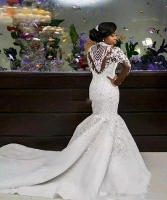 Fashion Beaded Lace Appliques High Neck Wedding Dress | Sexy Mermaid Bridal Dresses_3