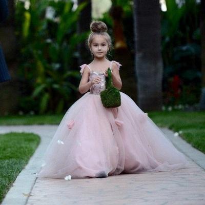 Sweet Pink Tulle Flower Girl Dress | Cute Long Children Dresses BA1419_5