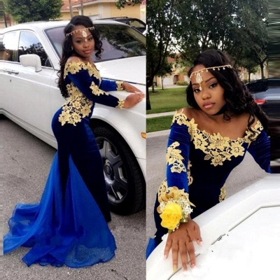 Gorgeous Mermaid Prom Dresses | Off-the-Shoulder Royal Blue Evening Gowns_4
