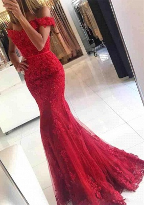 Mermaid Off-the-shoulder Red Lace Glamorous Appliques Evening Dress_1