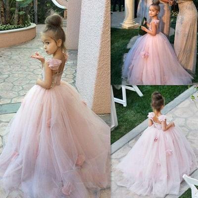 Sweet Pink Tulle Flower Girl Dress | Cute Long Children Dresses BA1419_4