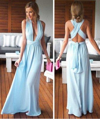 Long Floor-Length Sleeveless Beautiful Criss-Cross Prom Dress_4