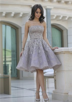 Gorgeous Full Sparkly Beads Knee Length Prom Dress Silver Sequins Organza New Homecoming Dress CJ0371_1