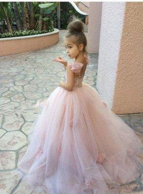 Sweet Pink Tulle Flower Girl Dress | Cute Long Children Dresses BA1419_1