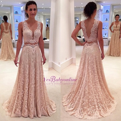 Lace Sleeveless Modern Two-Piece A-line Straps Prom Dress_1