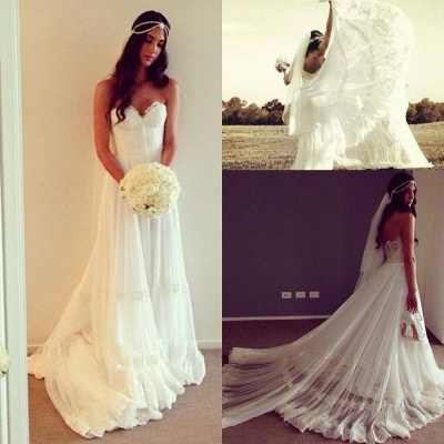 Sweep Train Lace Chic Sleeveless Strapless A-line Wedding Dress_3