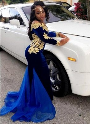 Gorgeous Mermaid Prom Dresses | Off-the-Shoulder Royal Blue Evening Gowns_1