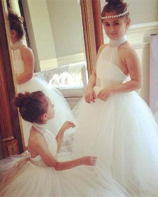 Romantic Bowknot Sweep Train High Neck White Tulle Flower Girl Dress