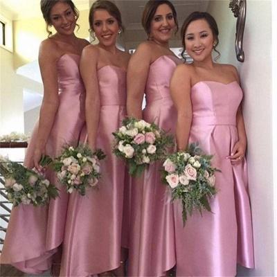 Hi-Lo Cheap Sweetheart Simple Newest  Bridesmaid Dress_3