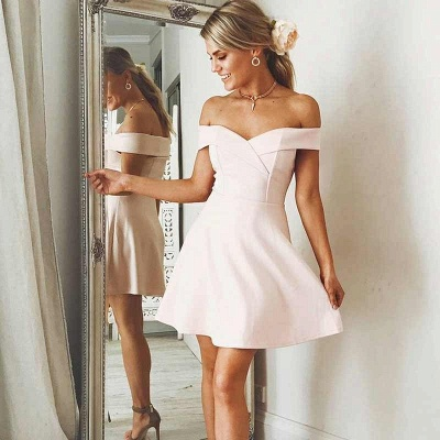 Elegant A-Line Short Homecoming Dresses | Off-the-Shoulder Backless Cocktail Dresses_4