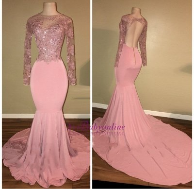 Mermaid Shiny Backless Beaded Long-Sleeves Pink Prom Dresses_1