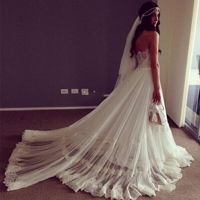 Sweep Train Lace Chic Sleeveless Strapless A-line Wedding Dress_4