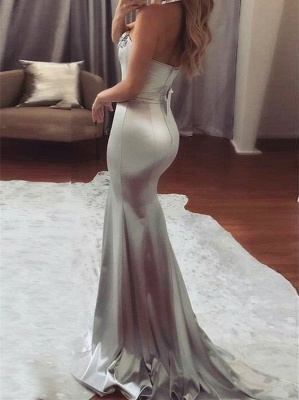 Shiny Silver Mermaid Prom Dresses Sweetheart-Neck Beading Long Evening Dress_3