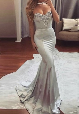 Shiny Silver Mermaid Prom Dresses Sweetheart-Neck Beading Long Evening Dress_2