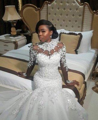 Fashion Beaded Lace Appliques High Neck Wedding Dress | Sexy Mermaid Bridal Dresses_1
