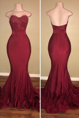 Stapless Sweetheart Mermaid Prom Dresses | Long Appliques Burgundy Evening Gowns_1