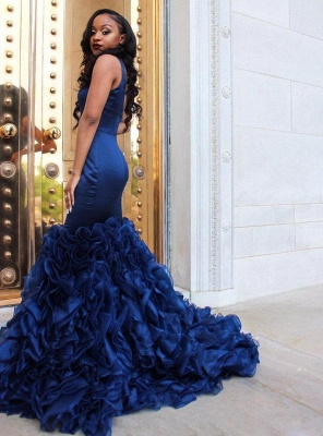 Fabulous Straps Mermaid Prom Dresses | Sleeveless Ruffles Skirt Evening Gowns_3