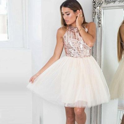 Elegant A-Line Short Homecoming Dresses | Sequined Halter Cocktail Dresses_3