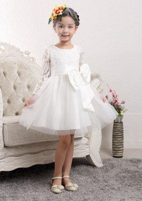 Lovely Long Sleeves Zipper Tulle Lace Flower Girl Dress With Bowknot_1
