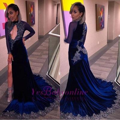 Sequins Key-Hole Halter Sexy Long-Sleeves Velvet High-Slit Prom Dress_1