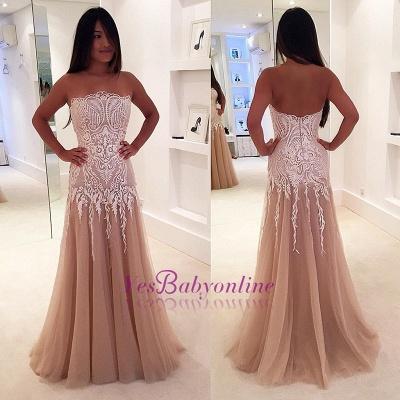 Zipper Strapless Newest A-line Lace Sleeveless Prom Dress_1
