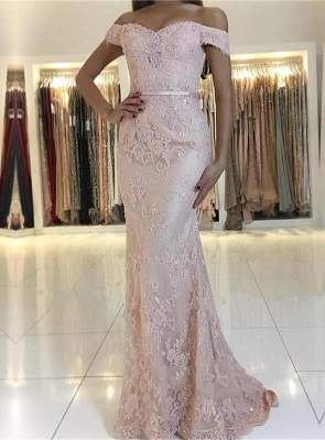 Charming Mermaid Lace Prom Dresses | 2019 Off-the-Shoulder Floor-Length Evening Gowns_2