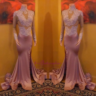 Long-Sleeves Lace-Appliques Mermaid High-Neck Split Sexy Evening Gowns_1