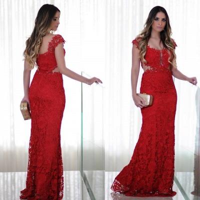 Long Cap-Sleeves Lace Mermaid Floor-Length Red Prom Dress_3