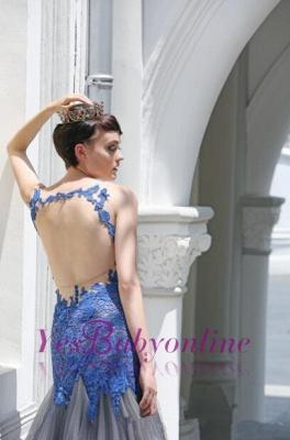 Glamorous Sexy Mermaid Appliques Tulle Sleeveless Evening Dress_5