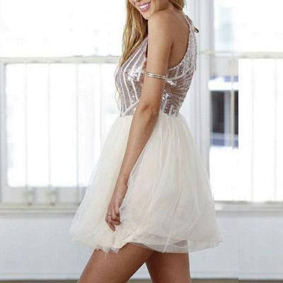 Elegant A-Line Short Homecoming Dresses | Sequined Halter Cocktail Dresses_4