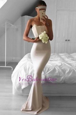 Elegant Mermaid Simple Sweep-Train Strapless Prom Dress_1