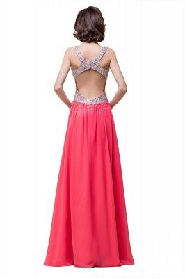 V-Neck A-Line Open-Back Modest Sleeveless Crystal Prom Dress_5