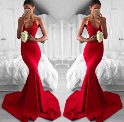 Sexy Mermaid Long Lace Red Lace V-Neck Prom Dress_3